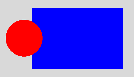 This is an image of a red circle enter in a blue rectangle