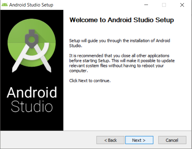 This is an image showing the Android Studio install wizard.