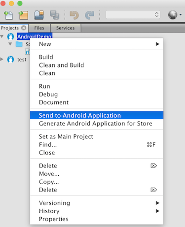 This is an image showing the send to Android Application selection option